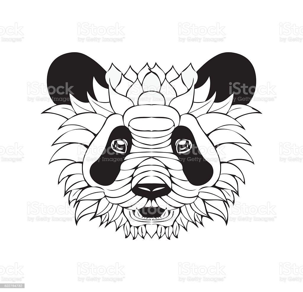 ornate-panda-tattoo-sketch-vector-illustration-vector-id522754732