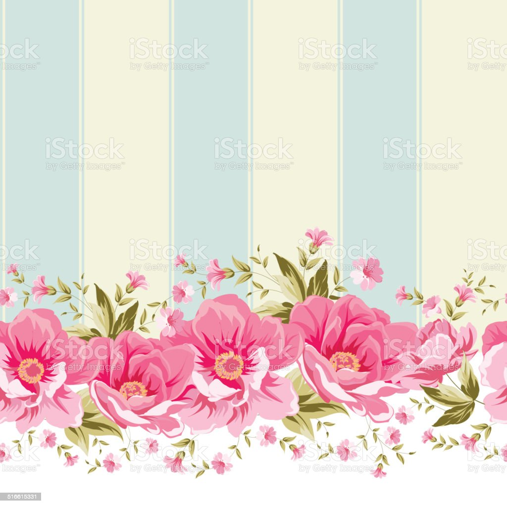Ornate Pink Flower Border With Tile Stock Vector Art More Images