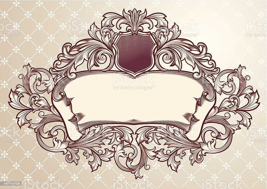 Ornate Scroll & Emblem royalty-free ornate scroll emblem stock vector art & more images of abstract