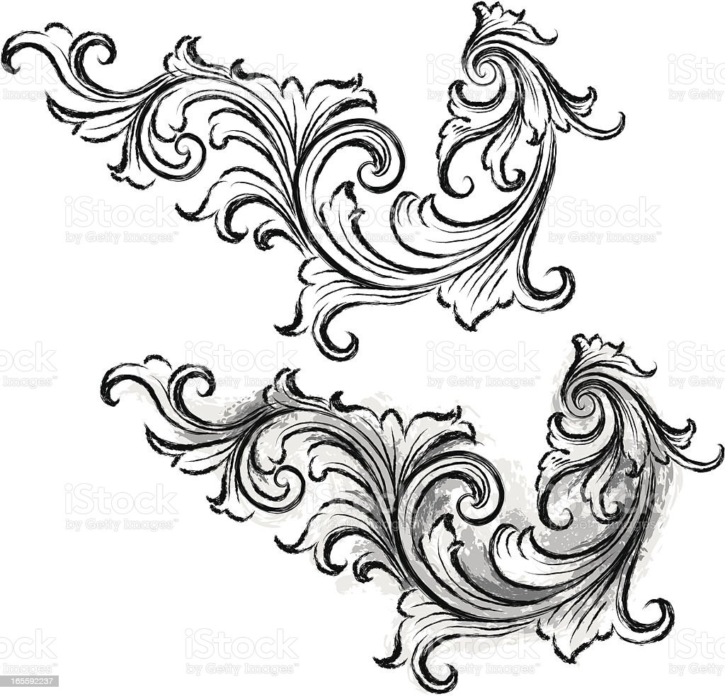 Scroll Drawing: Ornate Scroll Sketch Stock Vector Art & More Images Of