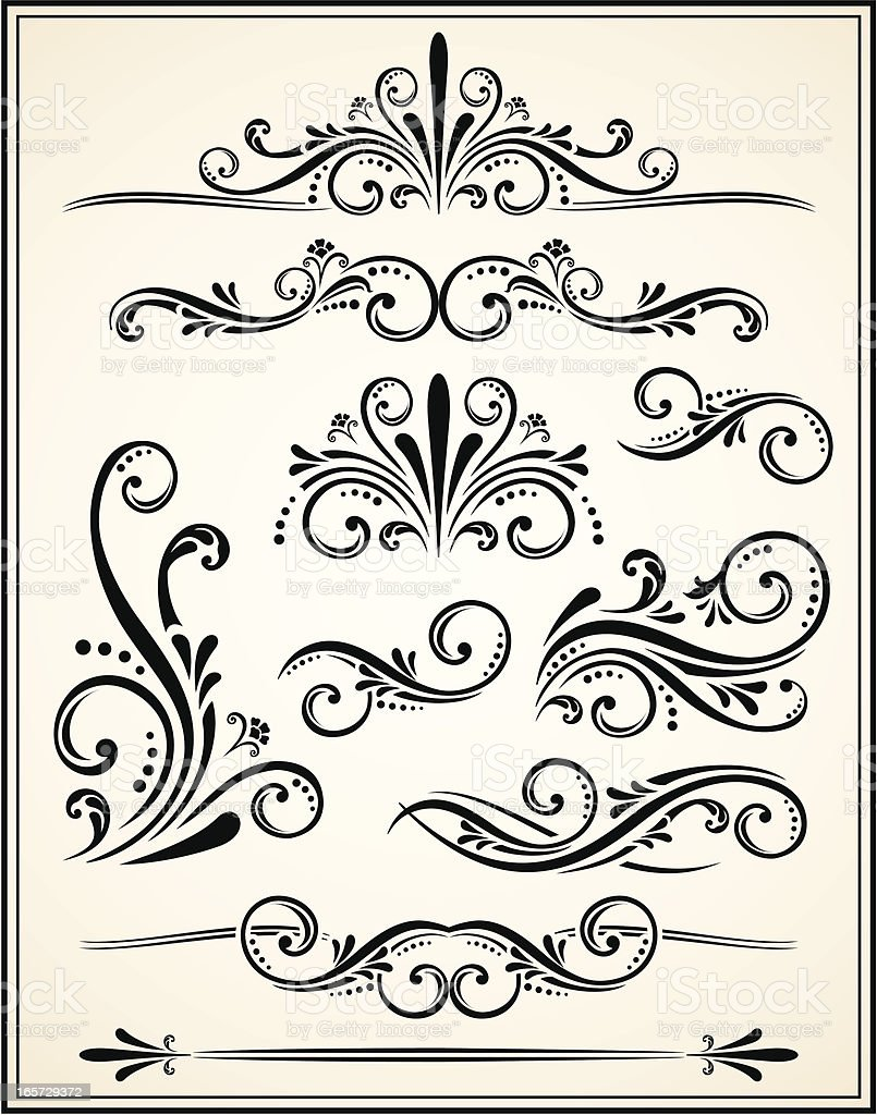 Ornate scrolls and flourishes in black royalty-free stock vector art