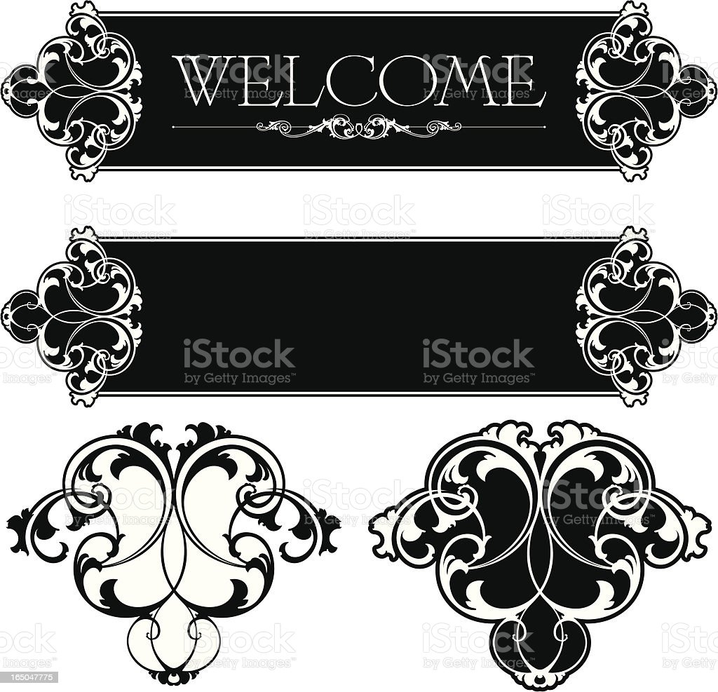 Ornate Scrolls and Panel Design royalty-free stock vector art