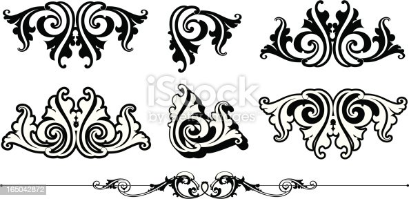 istock Ornate Scrolls and Rule 165042872