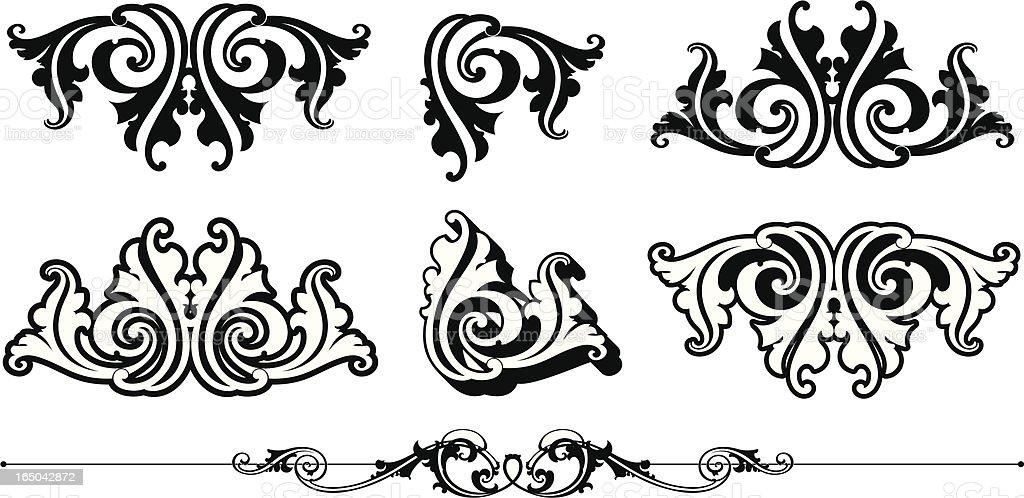 Ornate Scrolls and Rule vector art illustration