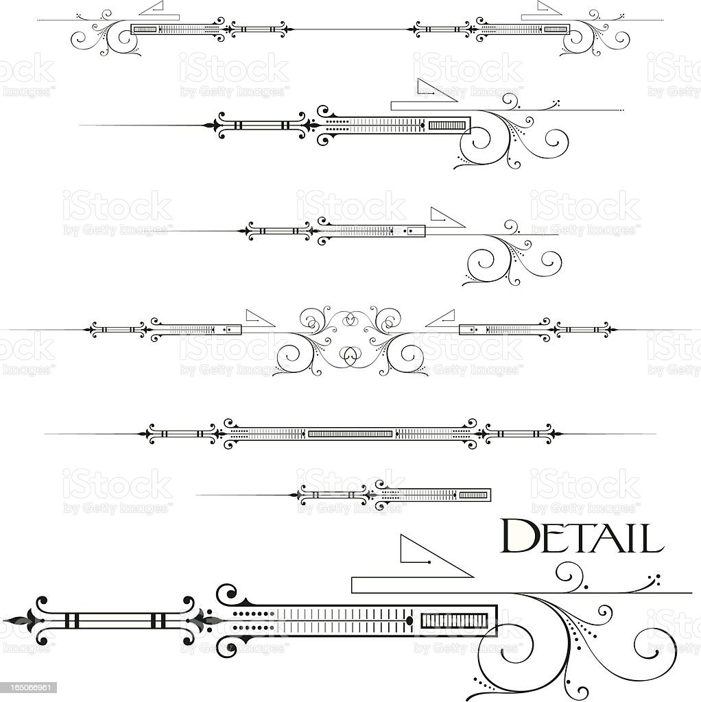 Ornate scrolls and ruleline centres vector art illustration