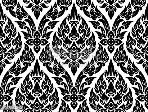 Seamless ornate lotus pattern.