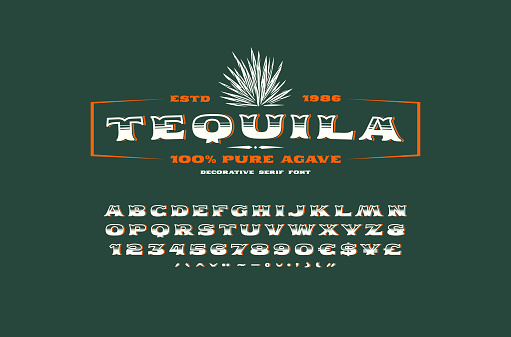 Ornate serif font and label template for tequila