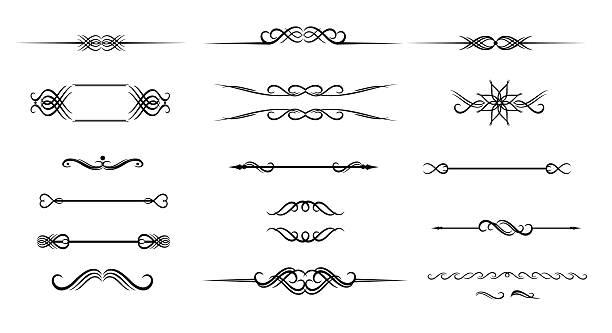 ilustrações, clipart, desenhos animados e ícones de ornado conjunto de mão desenhada para texto de decoração moldura vintage - bordas florais
