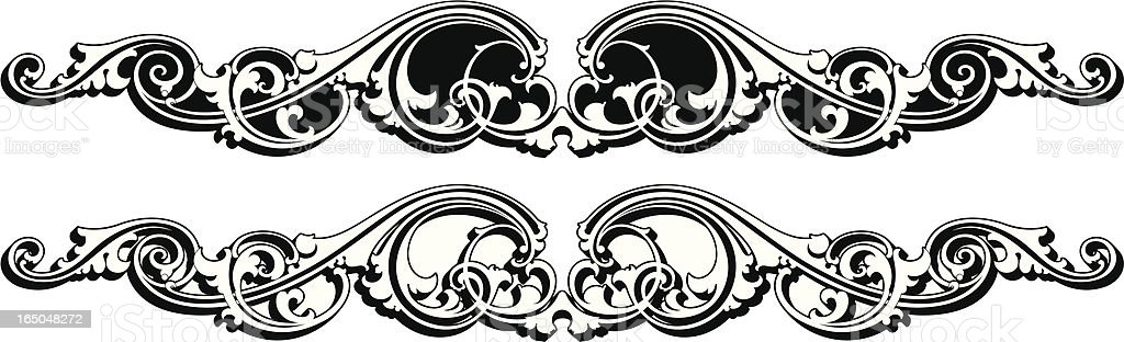 Ornate Shaded Scroll royalty-free stock vector art