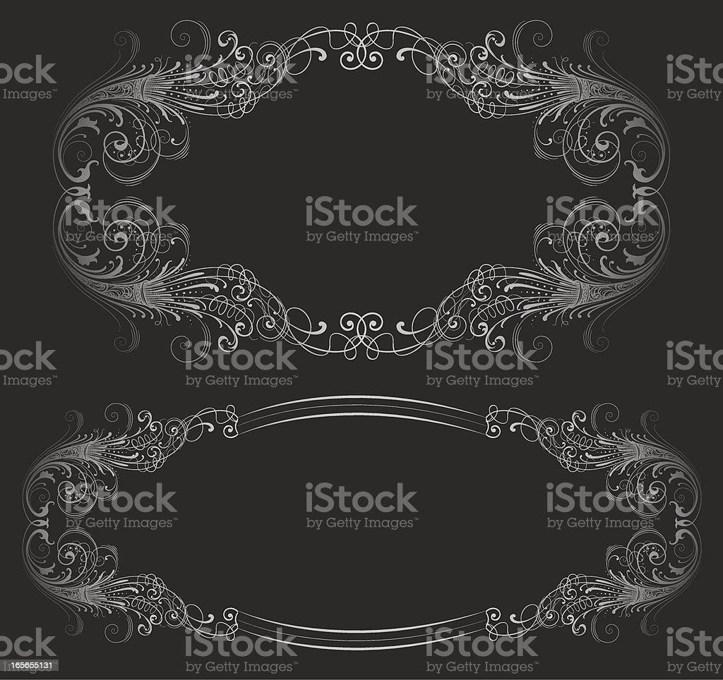 Ornate Silver Frames vector art illustration