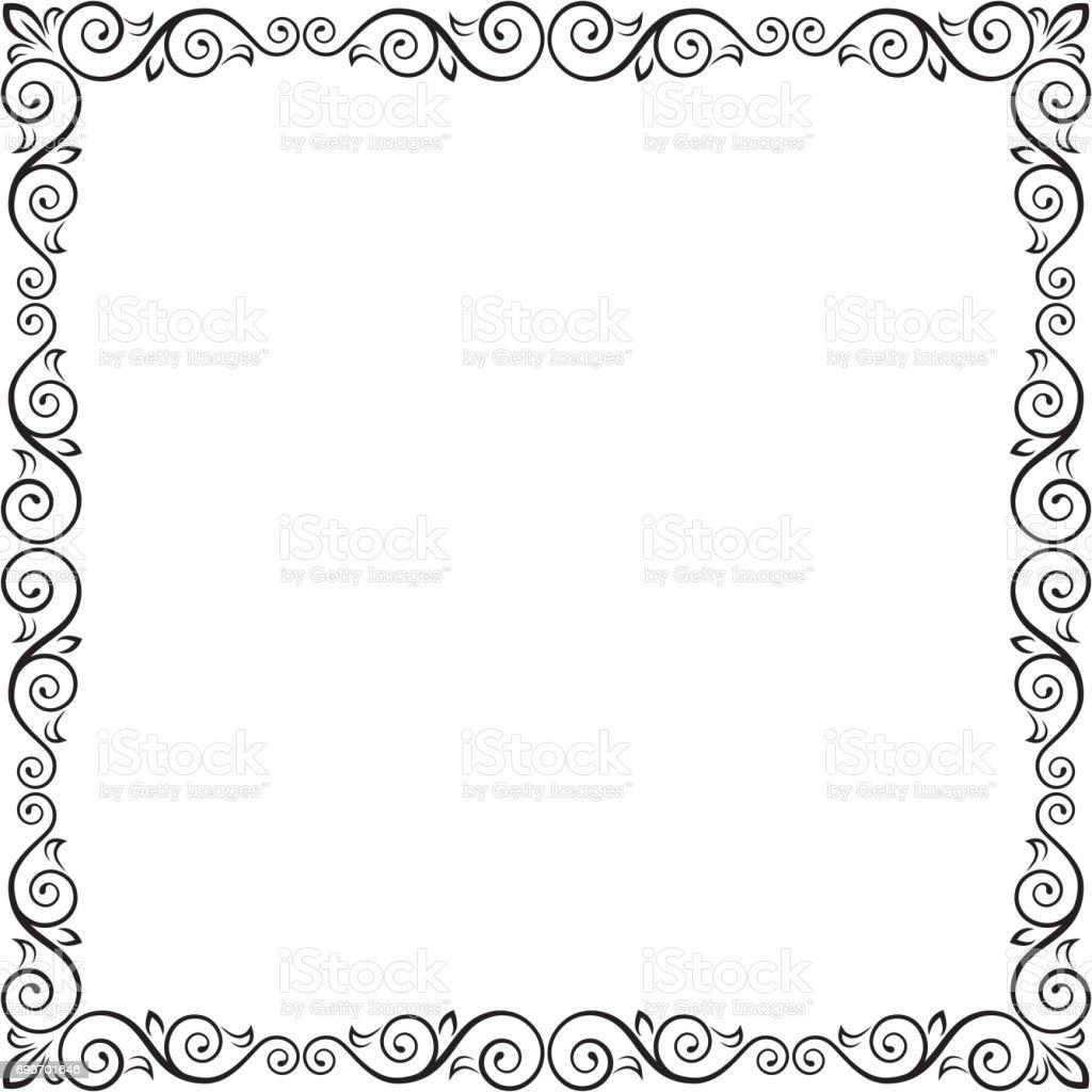 cadre carr noir orn pour d coration de page titre carte tiquette cliparts vectoriels et. Black Bedroom Furniture Sets. Home Design Ideas
