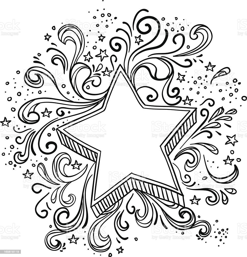 Ornate star in black and white royalty-free stock vector art