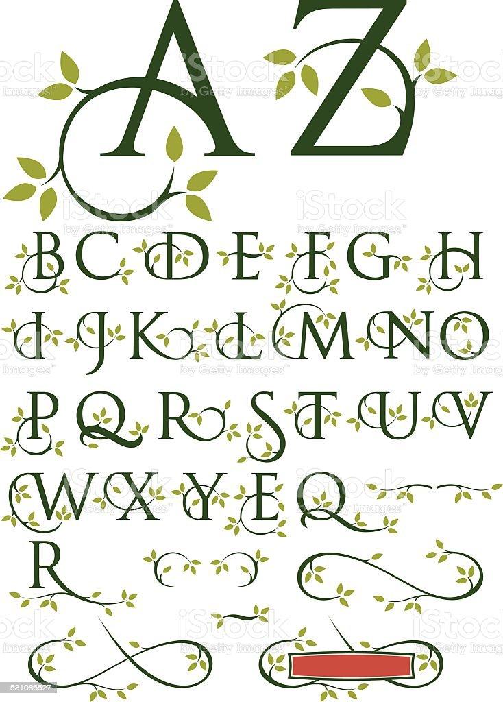 Ornate Swash Alphabet with Leaves vector art illustration