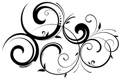 Black Ornate swirling floral pattern vector illustration