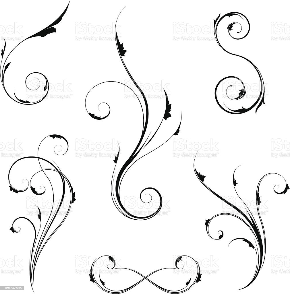 Ornate Swirl Set royalty-free stock vector art