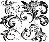 Ornate swirling floral motif vector for use on menus, wedding invites etc