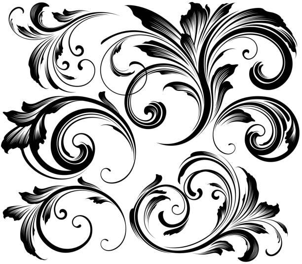 Ornate swirling floral motif vector vector art illustration