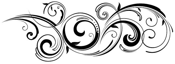 Ornate swirling floral motif vector