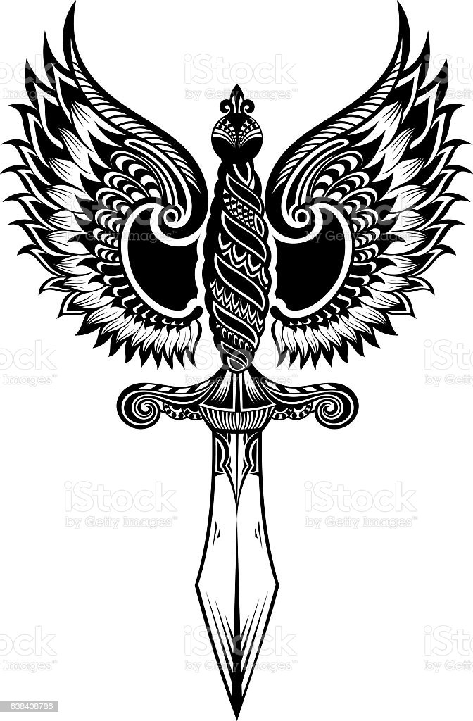 Ornate sword with wings - ilustración de arte vectorial