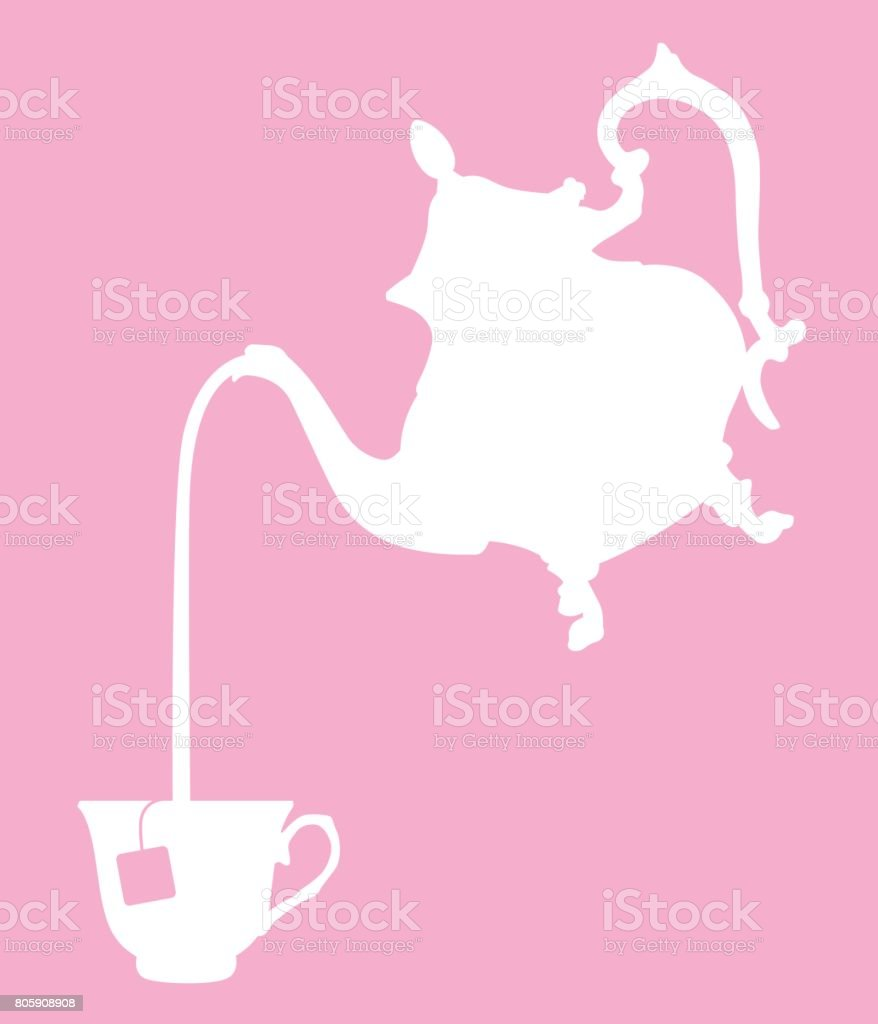 Ornate Teapot Pouring Tea vector art illustration