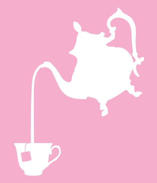 Ornate Teapot Pouring Tea Vector illustration of a white teapot pouring a cup of tea on a pink background. teapot stock illustrations