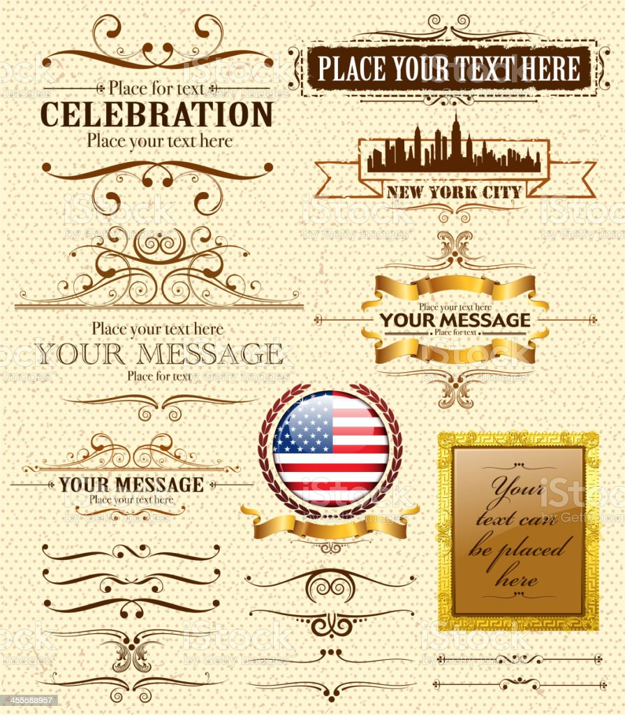 ornate text frames vector art illustration