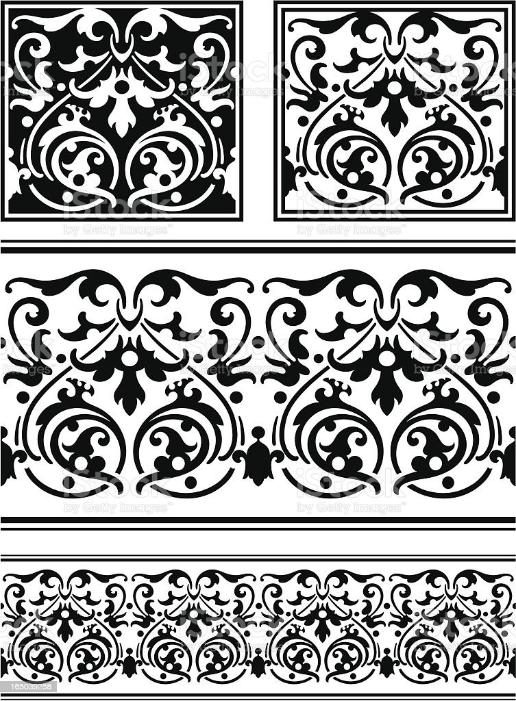 Ornate Tile and frieze royalty-free stock vector art