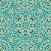 Vector ornate pattern with floral elements. Oriental turquoise ornament. Colorful template for carpet. Design for textile, carpet, shawl.