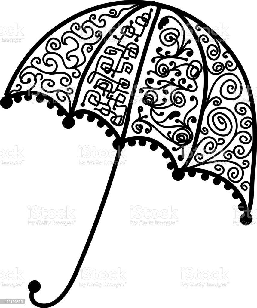 Ornate umbrella design, black silhouette royalty-free stock vector art