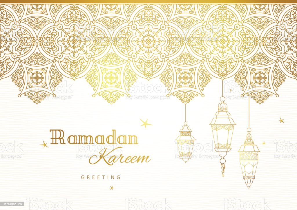 Ornate vector banner for Ramadan wishing. vector art illustration