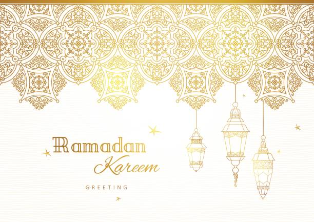 ornate vector banner for ramadan wishing. - ramadan stock illustrations, clip art, cartoons, & icons