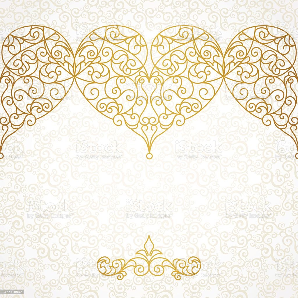 ornate vector border with hearts in line art style stock