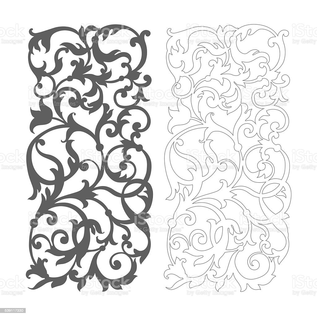 Ornate vector floral pattern for cutting vector art illustration