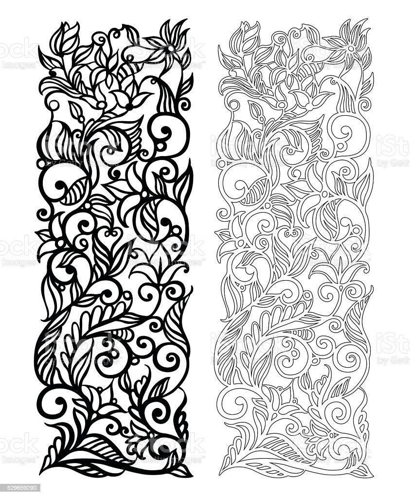Ornate vector floral pattern vector art illustration