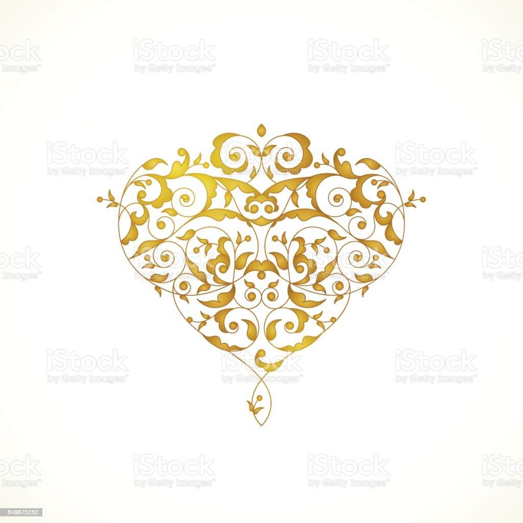 Coeur de vecteur ornée dans le style oriental. - Illustration vectorielle