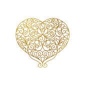 Ornate vector gold heart in line art. Elegant element for logo design in Eastern style. Golden floral illustration for wedding invitations, greeting cards, Valentines cards. Romantic outline pattern.