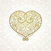 Ornate vector heart in line art style.