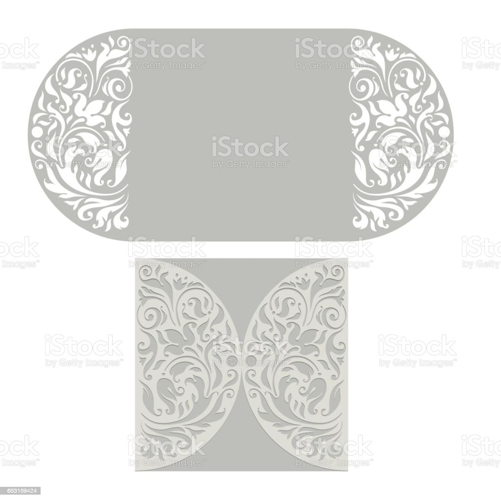 Ornate vector round pattern for cutting or lazer-cut on white background. floral pattern for greeting card. vector art illustration