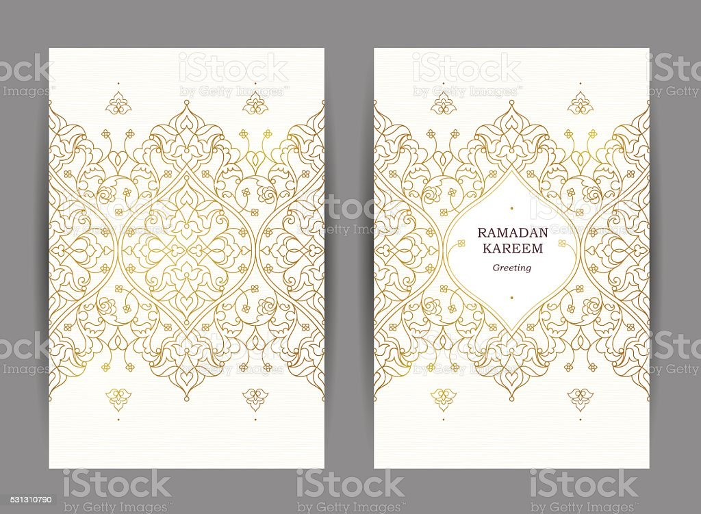 Ornate vintage cards in Eastern style. vector art illustration
