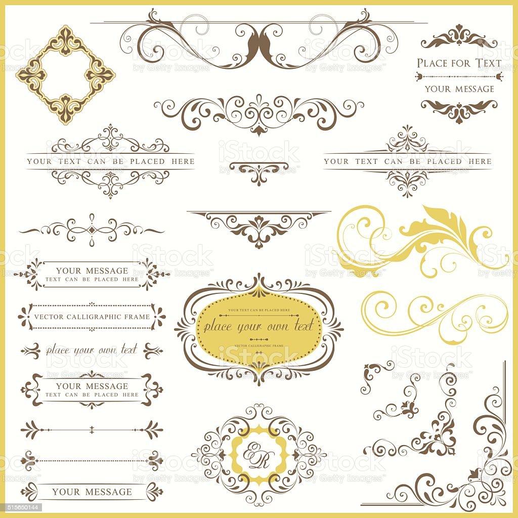 Ornate Vintage Design Set vector art illustration