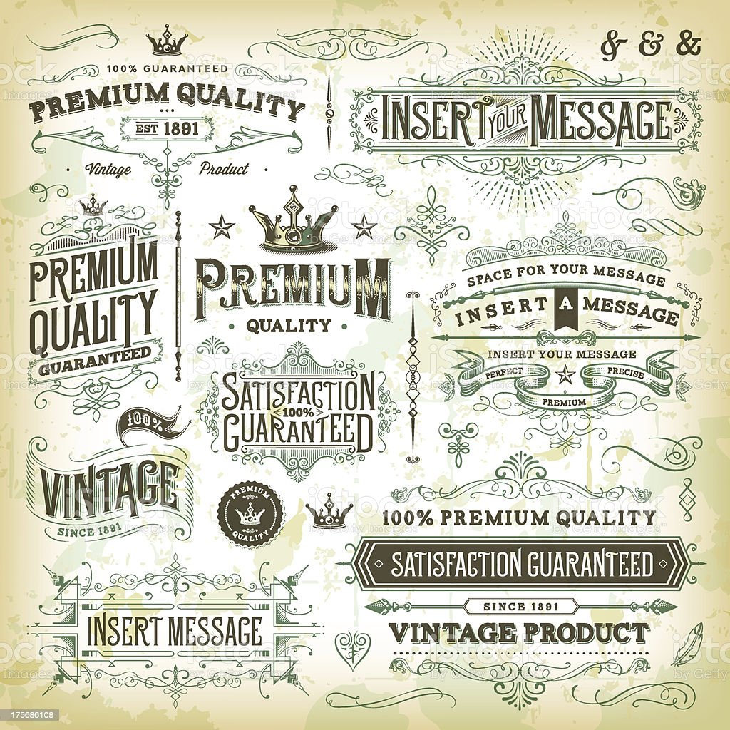 Ornate Vintage Elements vector art illustration