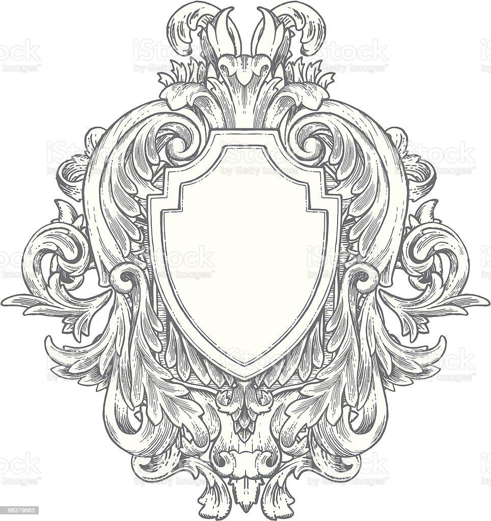 Ornate Vintage Hand-drawn Heraldry vector art illustration