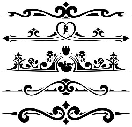 Ornate Wedding and Christening Decorative Design Elements