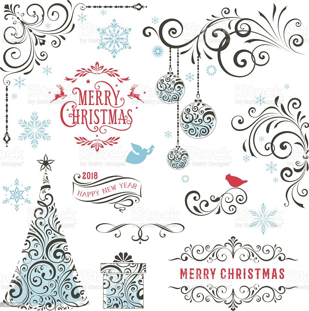 Ornate Winter Holiday Swirl Collection vector art illustration
