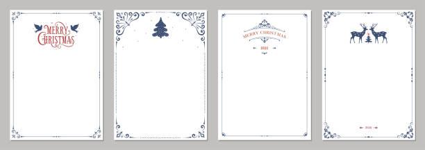 verzierte winterferien templates_01 - büromaterial stock-grafiken, -clipart, -cartoons und -symbole