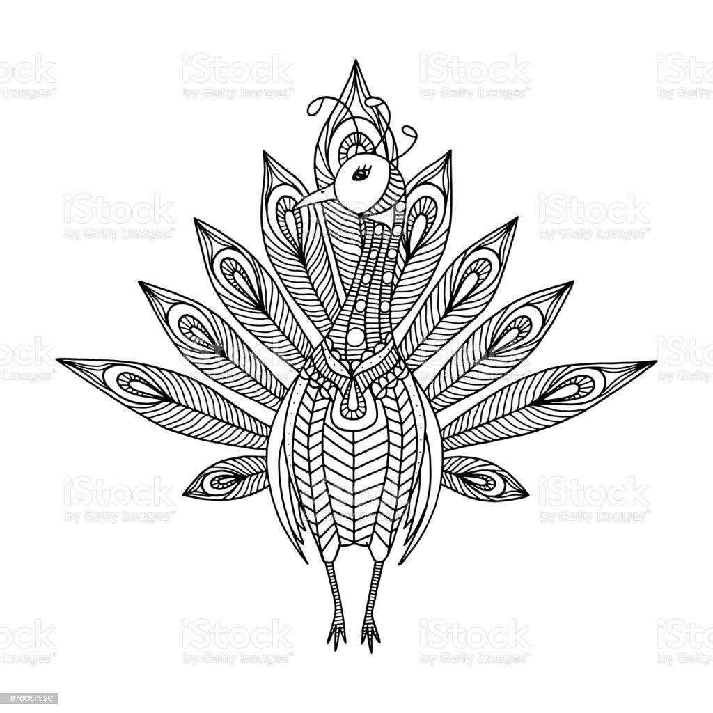 Ornated Tavus Kusu Boyama Sayfasi Stok Vektor Sanati Beyaz Nin