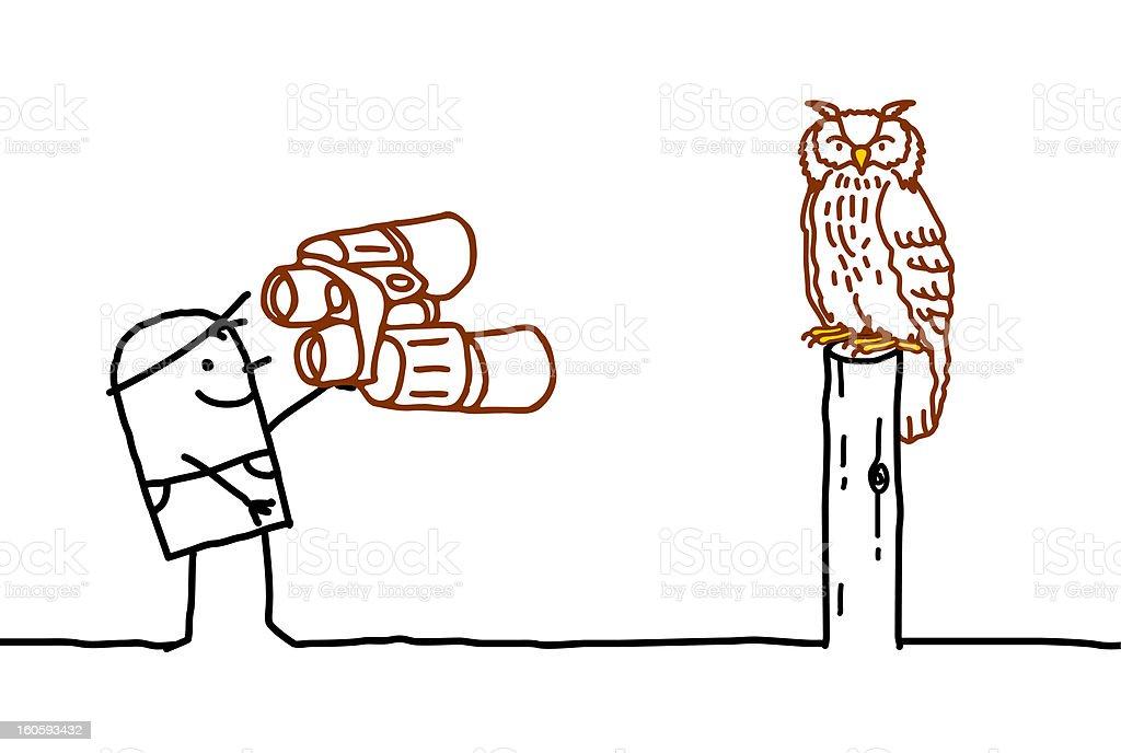 ornithologist & owl royalty-free stock vector art