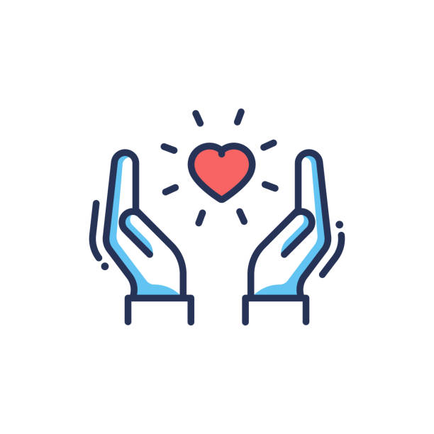 Orphans Help - modern vector line design icon. Orphans Help - modern vector single line design icon. An image of a heart floating between two hands, red and blue color, white background. Charity, care, volunteering presentation affectionate stock illustrations