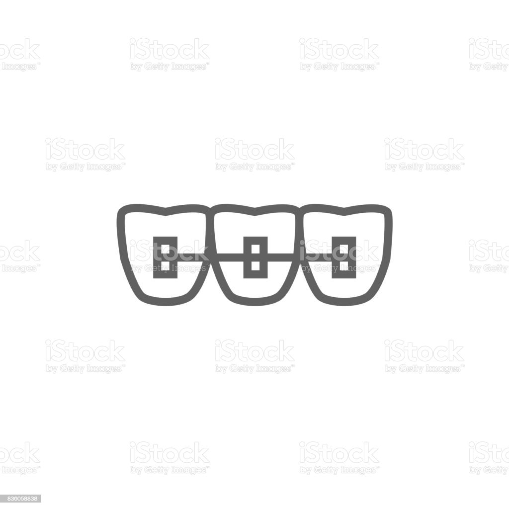 Orthodontic braces line icon vector art illustration