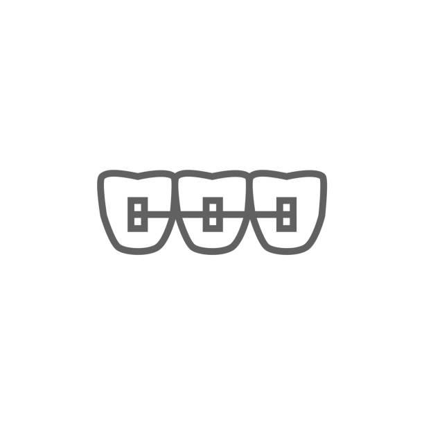 orthodontic zahnspange linie-icon - manschetten stock-grafiken, -clipart, -cartoons und -symbole